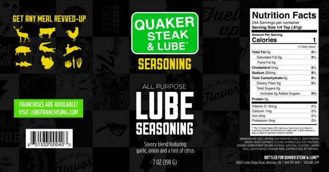 Lube Seasoning Label